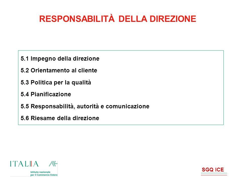 RESPONSABILITÀ DELLA DIREZIONE 5.1 Impegno della direzione 5.2 Orientamento al cliente 5.3 Politica per la qualità 5.4 Pianificazione 5.5 Responsabili