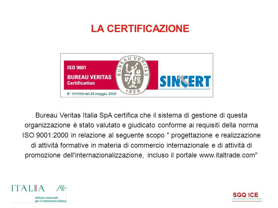 SGQ ICE Bureau Veritas Italia SpA certifica che il sistema di gestione di questa organizzazione è stato valutato e giudicato conforme ai requisiti del