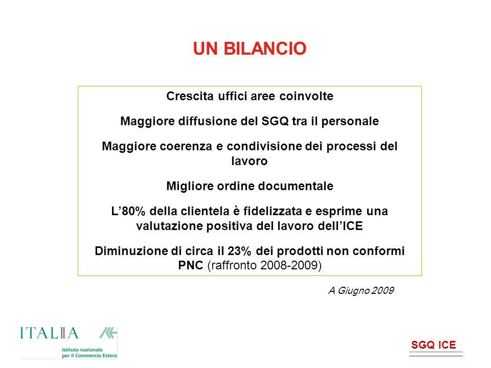 SGQ ICE UN BILANCIO Crescita uffici aree coinvolte Maggiore diffusione del SGQ tra il personale Maggiore coerenza e condivisione dei processi del lavo