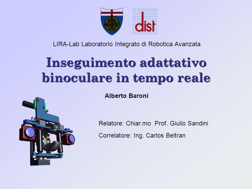 Inseguimento adattativo binoculare in tempo reale LIRA-Lab Laboratorio Integrato di Robotica Avanzata Alberto Baroni Relatore: Chiar.mo Prof.