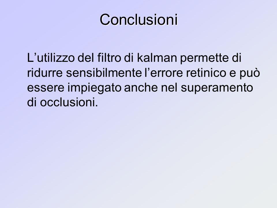 Conclusioni Lutilizzo del filtro di kalman permette di ridurre sensibilmente lerrore retinico e può essere impiegato anche nel superamento di occlusioni.
