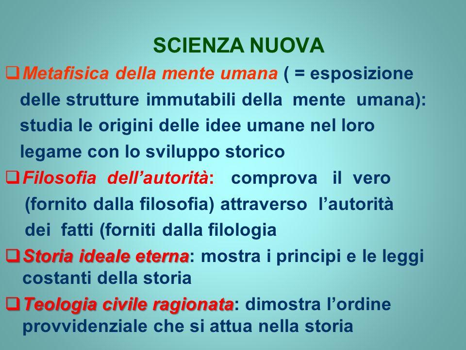 SCIENZA NUOVA Metafisica della mente umana ( = esposizione delle strutture immutabili della mente umana): studia le origini delle idee umane nel loro