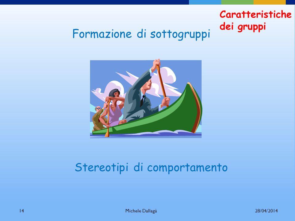 Michele Dallagà13 Caratteristiche dei gruppi Percezione della situazione Modo in cui trattiamo gli altri Regole di interazione Differenze interpersona
