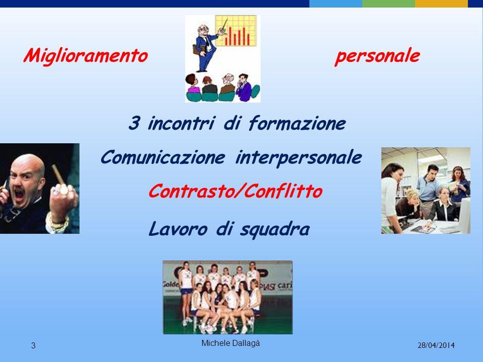 3 incontri di formazione Comunicazione interpersonale Lavoro di squadra Contrasto/Conflitto Miglioramento personale Michele Dallagà 3 28/04/2014