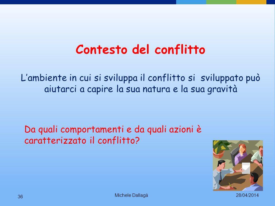 28/04/2014Michele Dallagà 35 Storia del conflitto Comprendere il modo in cui il conflitto si è sviluppato può aiutarci a capire perché ci si trova nel