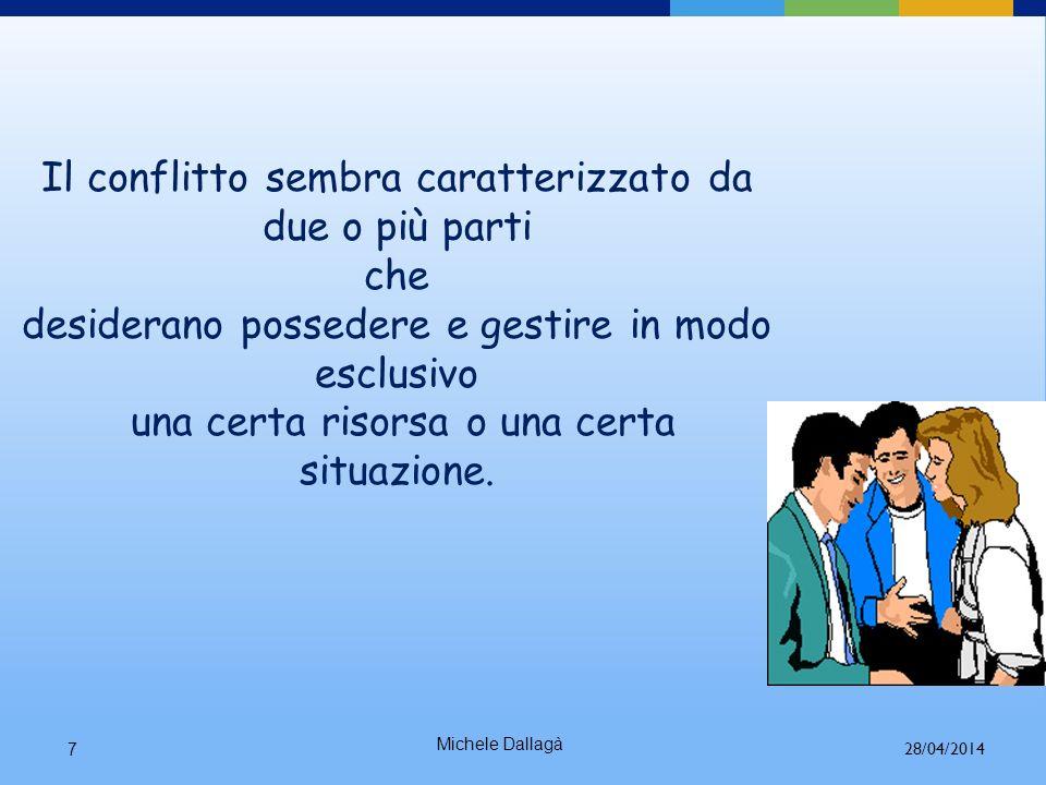 Michele Dallagà 7 Il conflitto sembra caratterizzato da due o più parti che desiderano possedere e gestire in modo esclusivo una certa risorsa o una certa situazione.