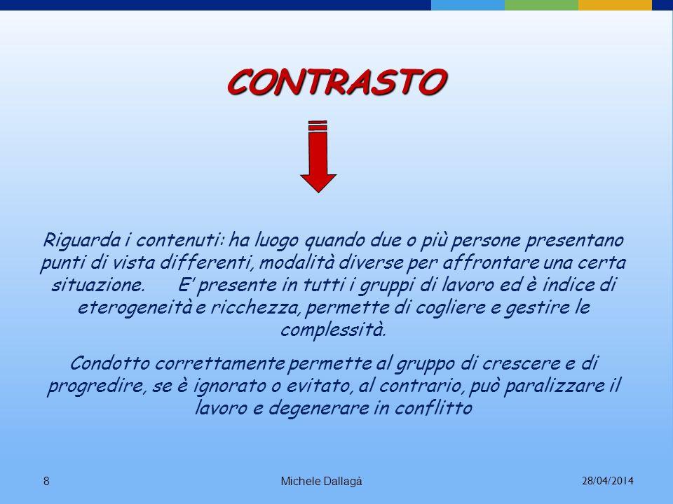 Michele Dallagà8 CONTRASTO Riguarda i contenuti: ha luogo quando due o più persone presentano punti di vista differenti, modalità diverse per affrontare una certa situazione.