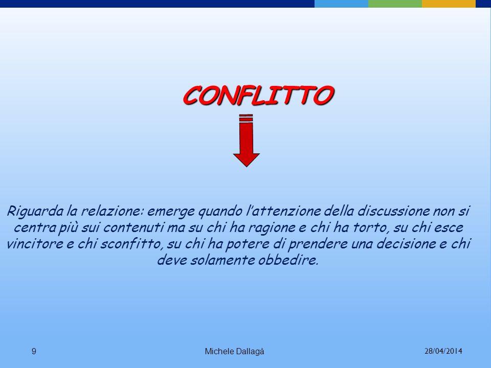 Michele Dallagà8 CONTRASTO Riguarda i contenuti: ha luogo quando due o più persone presentano punti di vista differenti, modalità diverse per affronta