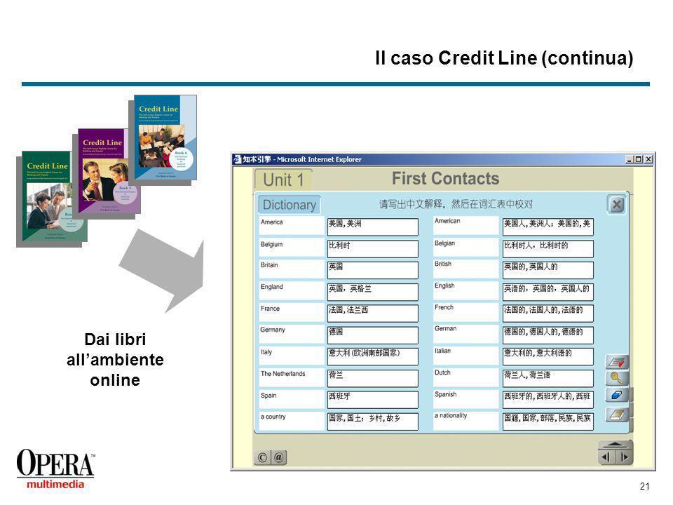 21 Il caso Credit Line (continua) Dai libri allambiente online