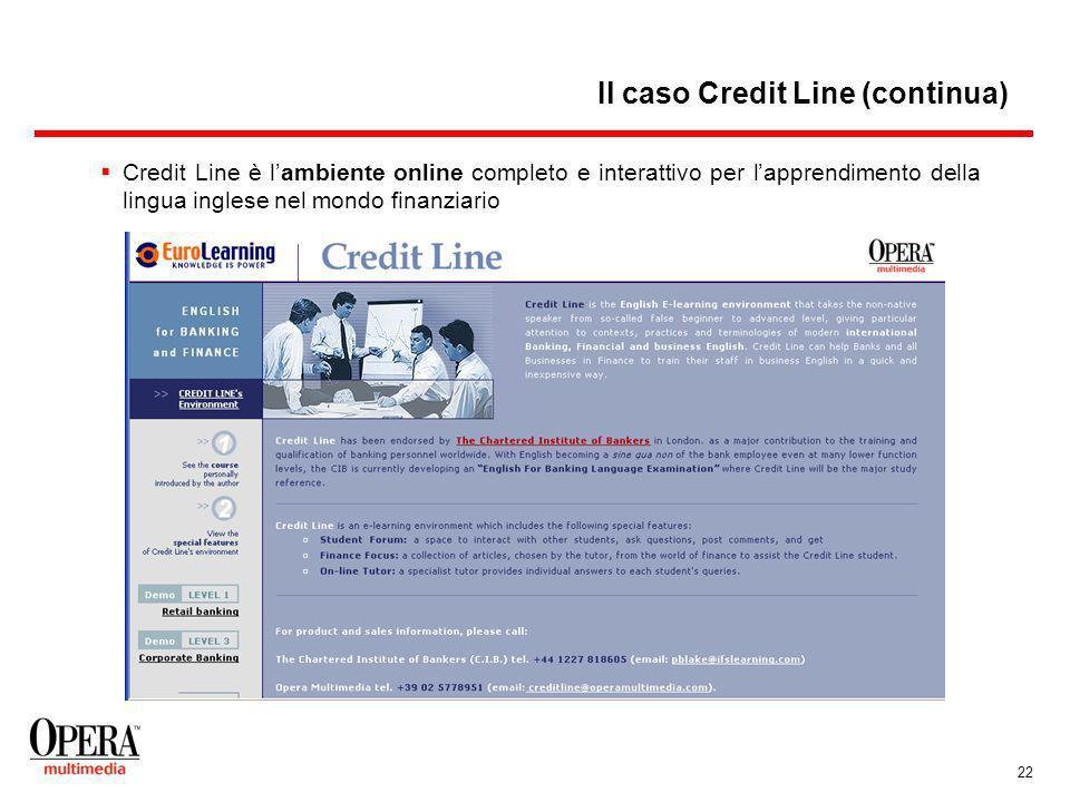 22 Credit Line è lambiente online completo e interattivo per lapprendimento della lingua inglese nel mondo finanziario Il caso Credit Line (continua)