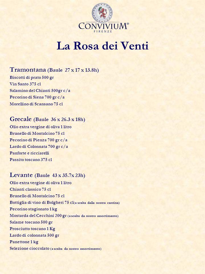 La Rosa dei Venti Tramontana (Baule 27 x 17 x 13.8h) Biscotti di prato 500 gr Vin Santo 375 cl Salamino del Chianti 500gr c/a Pecorino di Siena 700 gr