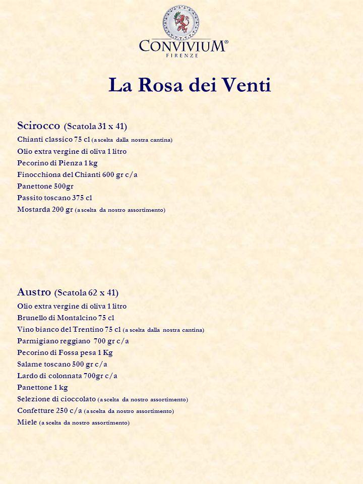 La Rosa dei Venti Scirocco (Scatola 31 x 41) Chianti classico 75 cl (a scelta dalla nostra cantina) Olio extra vergine di oliva 1 litro Pecorino di Pi