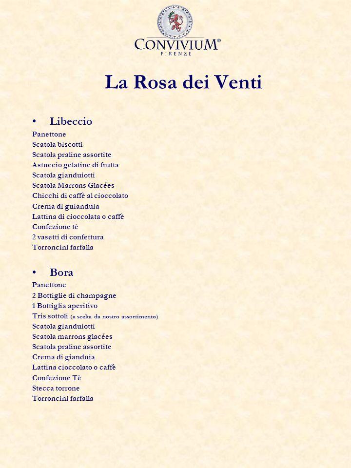 La Rosa dei Venti Libeccio Panettone Scatola biscotti Scatola praline assortite Astuccio gelatine di frutta Scatola gianduiotti Scatola Marrons Glacée