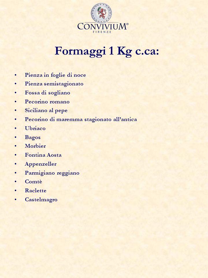 Formaggi 1 Kg c.ca: Pienza in foglie di noce Pienza semistagionato Fossa di sogliano Pecorino romano Siciliano al pepe Pecorino di maremma stagionato