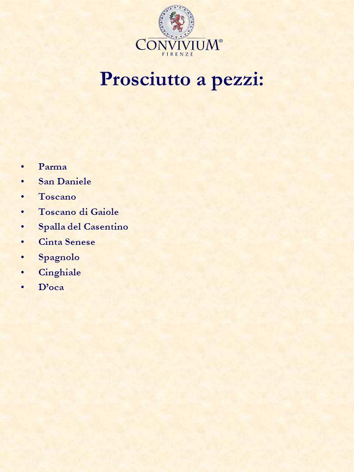 Prosciutto a pezzi: Parma San Daniele Toscano Toscano di Gaiole Spalla del Casentino Cinta Senese Spagnolo Cinghiale Doca