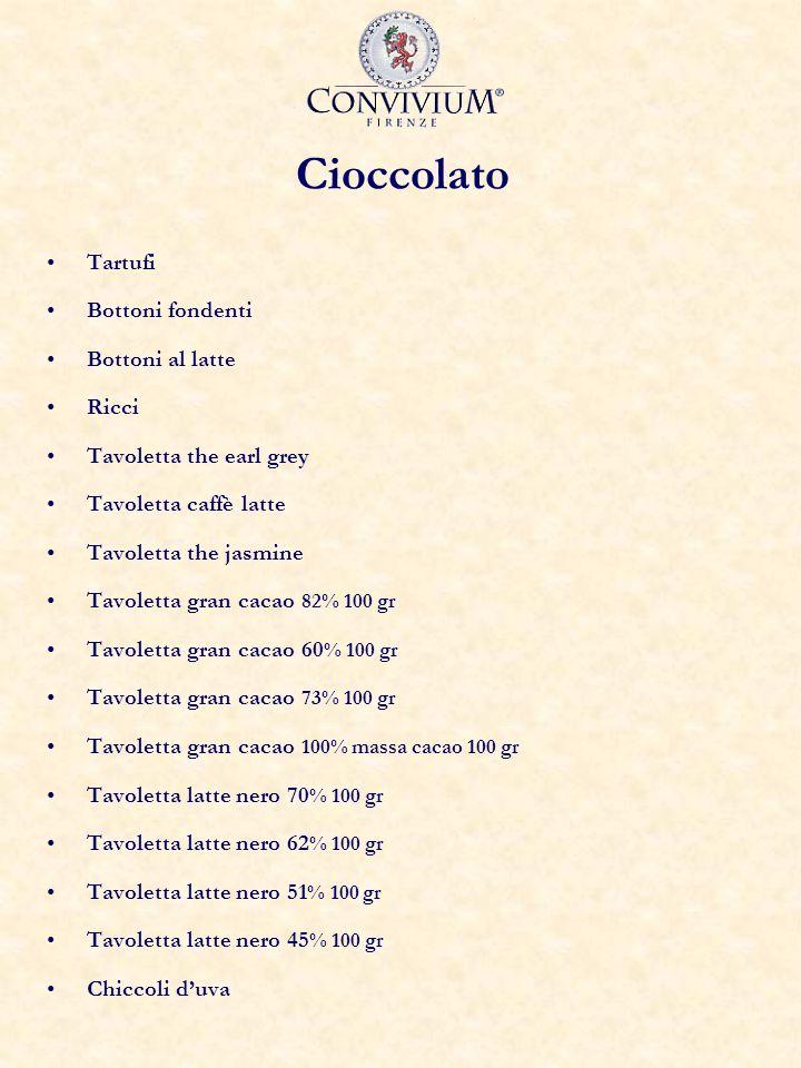 Cioccolato Tartufi Bottoni fondenti Bottoni al latte Ricci Tavoletta the earl grey Tavoletta caffè latte Tavoletta the jasmine Tavoletta gran cacao 82