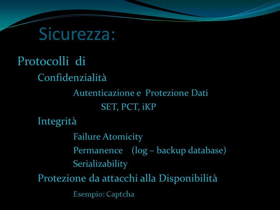 Sicurezza: Protocolli di Confidenzialità Autenticazione e Protezione Dati SET, PCT, iKP Integrità Failure Atomicity Permanence (log – backup database)