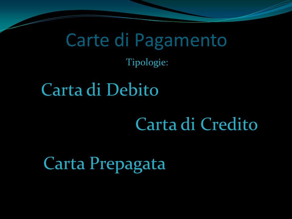 Carte di Pagamento Carta di Credito Carta di Debito Carta Prepagata Tipologie: