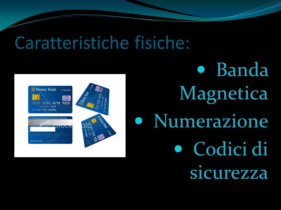Caratteristiche fisiche: Banda Magnetica Numerazione Codici di sicurezza