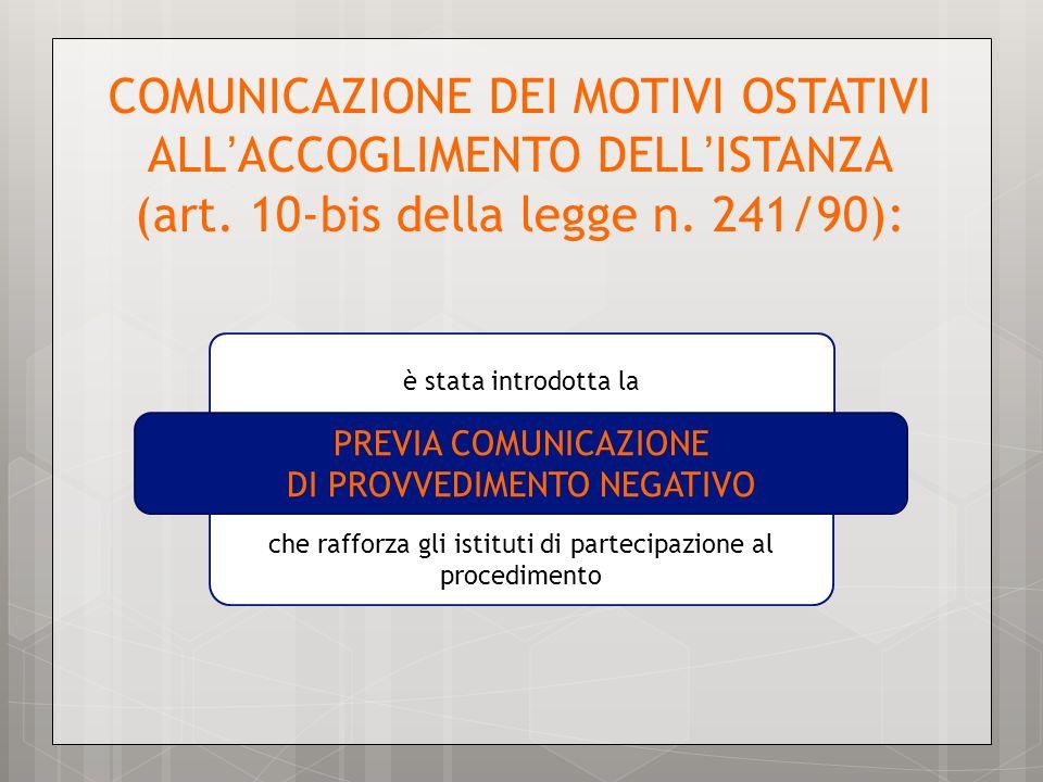 COMUNICAZIONE DEI MOTIVI OSTATIVI ALL ACCOGLIMENTO DELL ISTANZA (art. 10-bis della legge n. 241/90): che rafforza gli istituti di partecipazione al pr