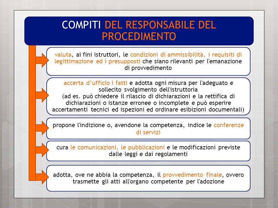 propone l'indizione o, avendone la competenza, indìce le conferenze di servizi valuta, ai fini istruttori, le condizioni di ammissibilità, i requisiti