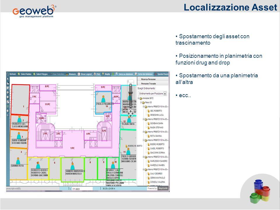 Localizzazione Asset Spostamento degli asset con trascinamento Posizionamento in planimetria con funzioni drug and drop Spostamento da una planimetria