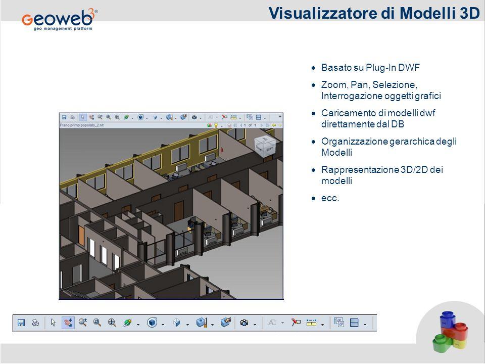 Visualizzatore di Modelli 3D Basato su Plug-In DWF Zoom, Pan, Selezione, Interrogazione oggetti grafici Caricamento di modelli dwf direttamente dal DB