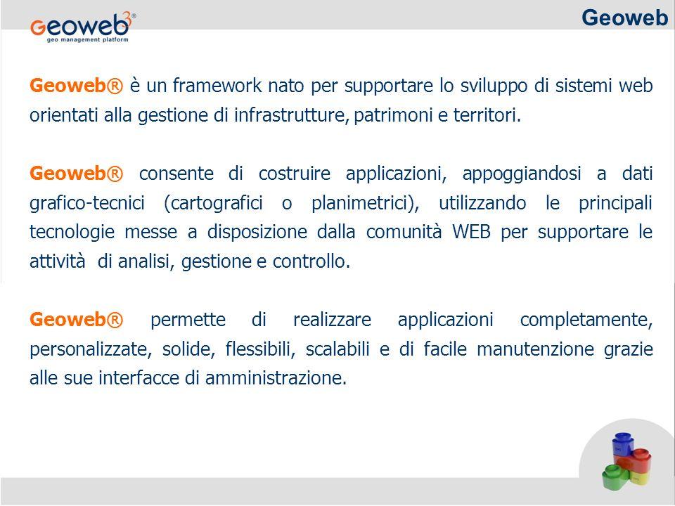 Geoweb Geoweb® è un framework nato per supportare lo sviluppo di sistemi web orientati alla gestione di infrastrutture, patrimoni e territori. Geoweb®