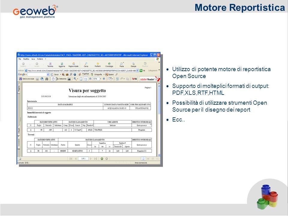 Motore Reportistica Utilizzo di potente motore di reportistica Open Source Supporto di molteplici formati di output: PDF,XLS,RTF,HTML Possibilità di u