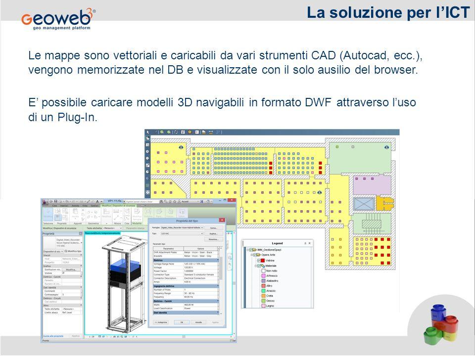 Le mappe sono vettoriali e caricabili da vari strumenti CAD (Autocad, ecc.), vengono memorizzate nel DB e visualizzate con il solo ausilio del browser