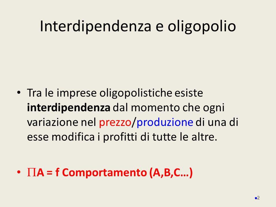 Interdipendenza e oligopolio Tra le imprese oligopolistiche esiste interdipendenza dal momento che ogni variazione nel prezzo/produzione di una di ess