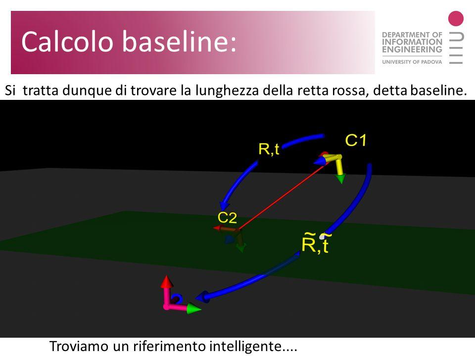 Si tratta dunque di trovare la lunghezza della retta rossa, detta baseline. Calcolo baseline: Troviamo un riferimento intelligente....