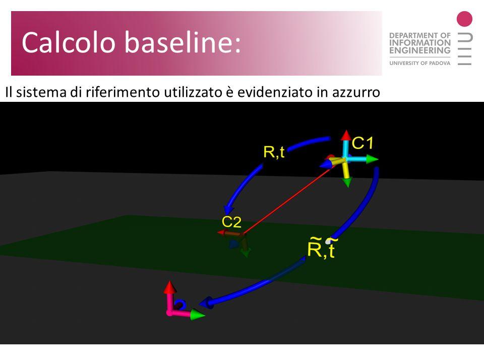 Il sistema di riferimento utilizzato è evidenziato in azzurro Calcolo baseline:
