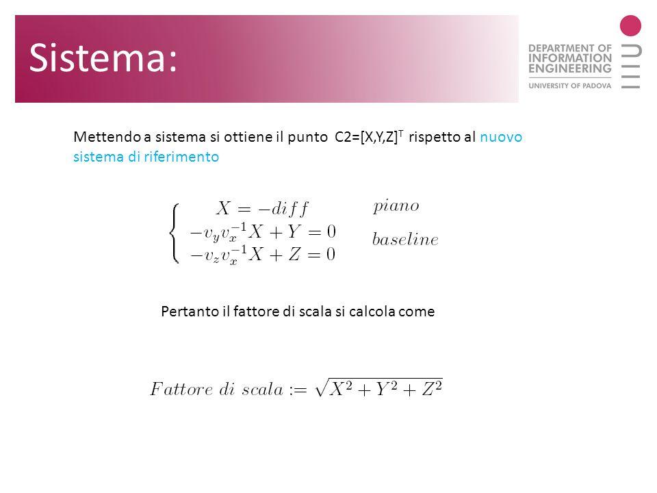 Mettendo a sistema si ottiene il punto C2=[X,Y,Z] T rispetto al nuovo sistema di riferimento Pertanto il fattore di scala si calcola come Sistema: