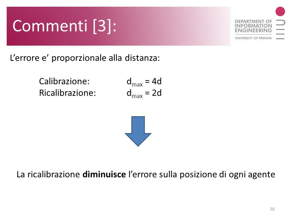 Commenti [3]: 36 Lerrore e proporzionale alla distanza: Calibrazione:d max = 4d Ricalibrazione:d max = 2d La ricalibrazione diminuisce lerrore sulla p