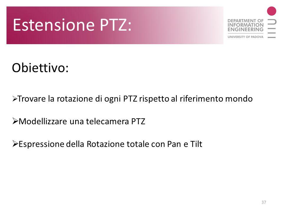37 Estensione PTZ: Obiettivo: Trovare la rotazione di ogni PTZ rispetto al riferimento mondo Modellizzare una telecamera PTZ Espressione della Rotazio