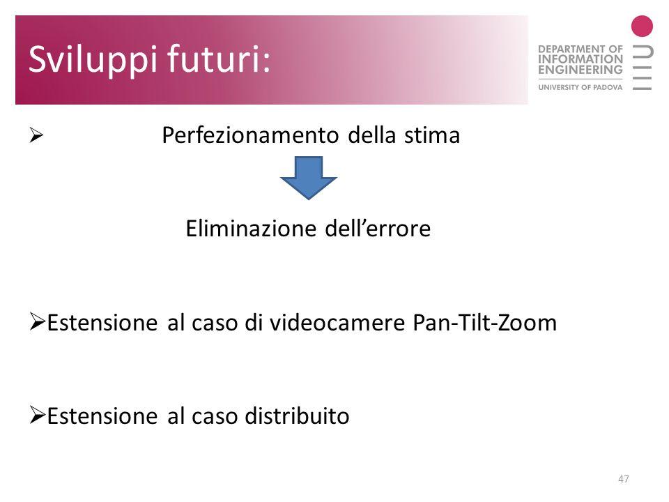 47 Sviluppi futuri: Perfezionamento della stima Eliminazione dellerrore Estensione al caso di videocamere Pan-Tilt-Zoom Estensione al caso distribuito