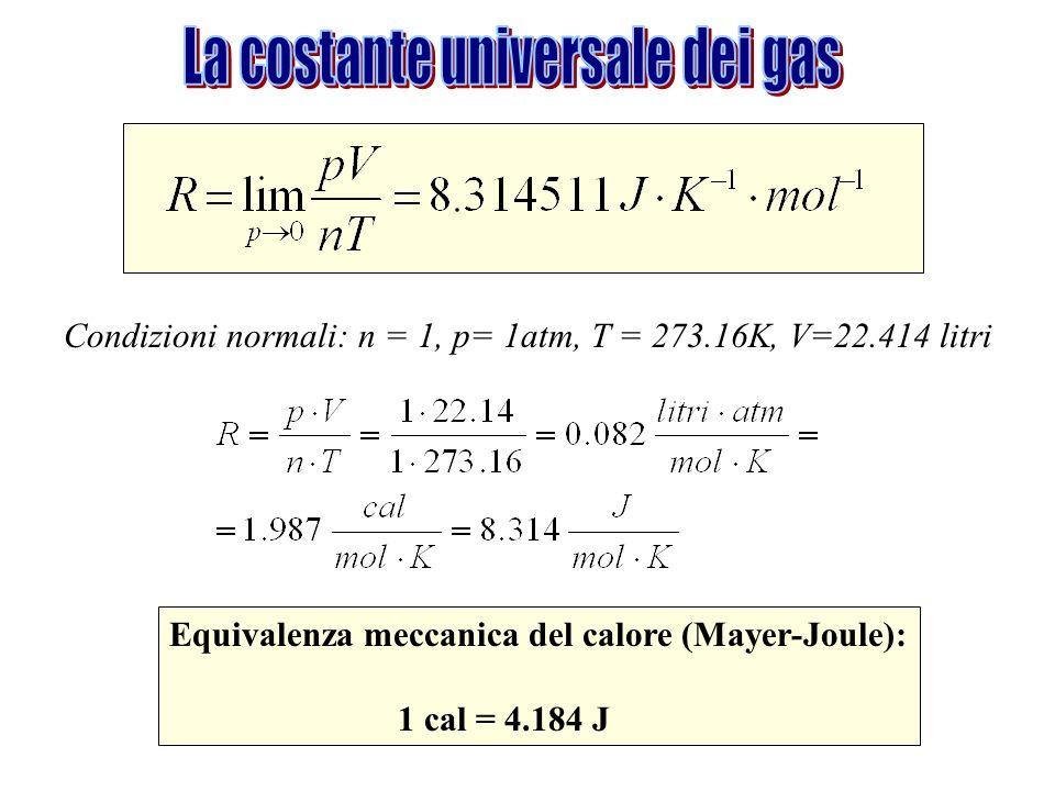 Condizioni normali: n = 1, p= 1atm, T = 273.16K, V=22.414 litri Equivalenza meccanica del calore (Mayer-Joule): 1 cal = 4.184 J