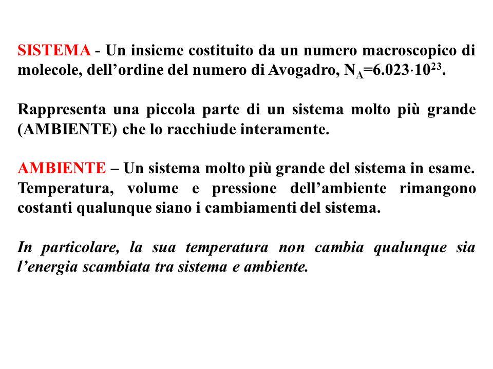 SISTEMA - Un insieme costituito da un numero macroscopico di molecole, dellordine del numero di Avogadro, N A =6.023 10 23. Rappresenta una piccola pa