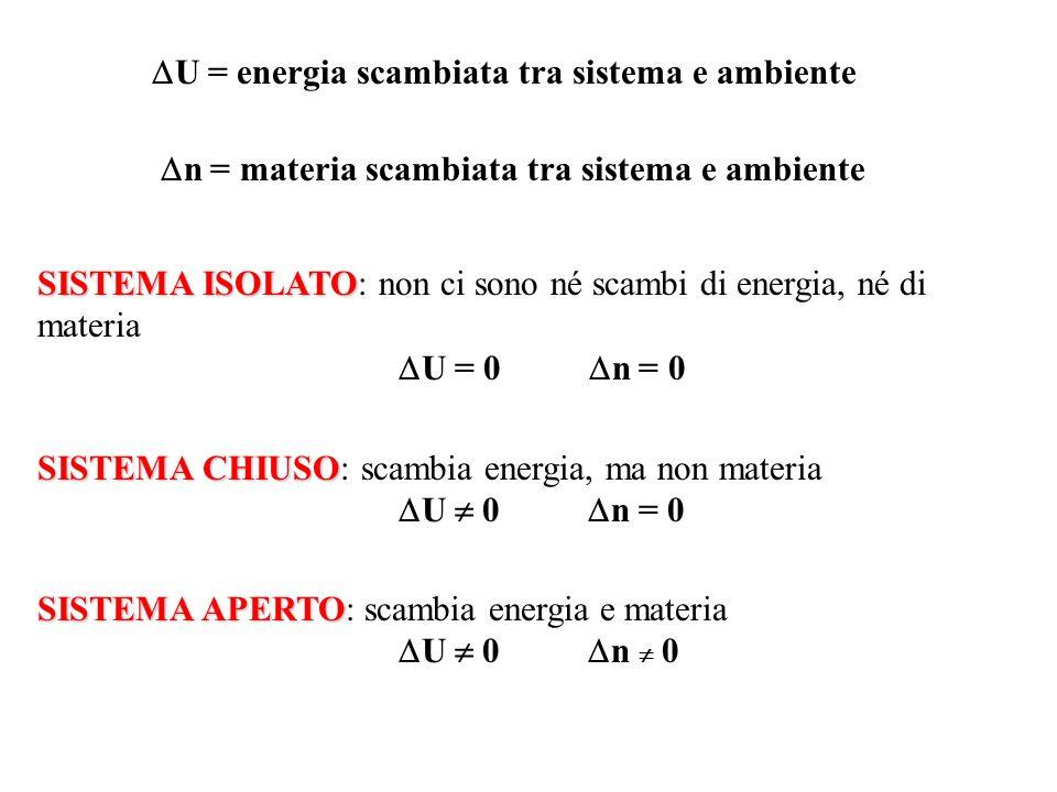 U = energia scambiata tra sistema e ambiente n = materia scambiata tra sistema e ambiente SISTEMA ISOLATO SISTEMA ISOLATO: non ci sono né scambi di en