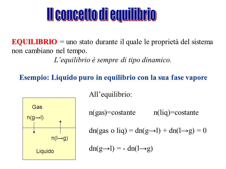 EQUILIBRIO EQUILIBRIO = uno stato durante il quale le proprietà del sistema non cambiano nel tempo. Lequilibrio è sempre di tipo dinamico. Esempio: Li