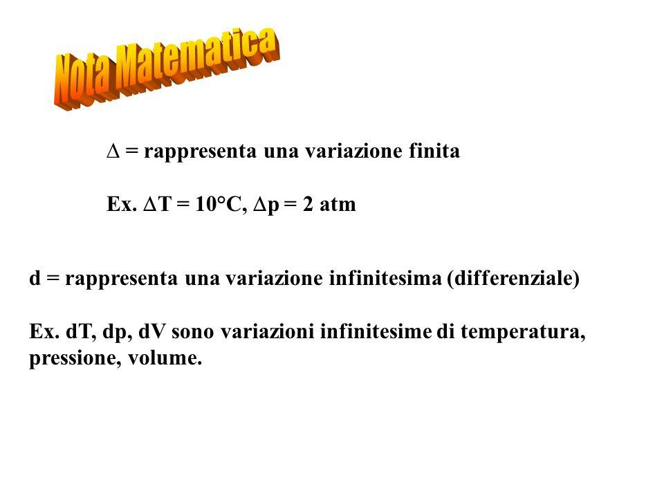 = rappresenta una variazione finita Ex. T = 10°C, p = 2 atm d = rappresenta una variazione infinitesima (differenziale) Ex. dT, dp, dV sono variazioni