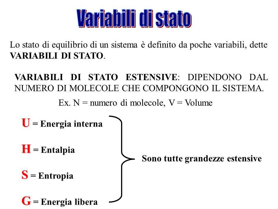 Lo stato di equilibrio di un sistema è definito da poche variabili, dette VARIABILI DI STATO. VARIABILI DI STATO ESTENSIVE: DIPENDONO DAL NUMERO DI MO