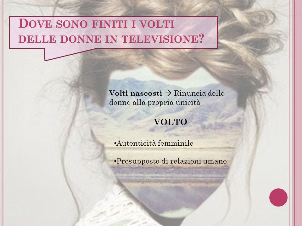 D OVE SONO FINITI I VOLTI DELLE DONNE IN TELEVISIONE ? Volti nascosti Rinuncia delle donne alla propria unicità VOLTO Autenticità femminile Presuppost