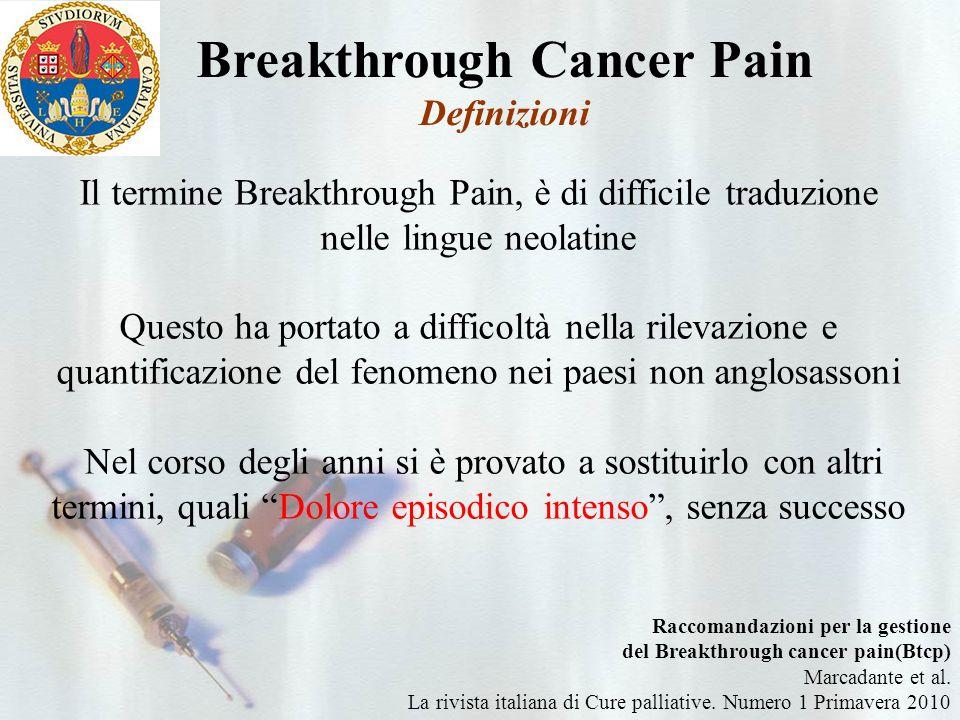 Il BTcP non sembra avere a tuttoggi dei propri meccanismi molecolari Tuttavia…… Meccanismi molecolari del Breakthrough Cancer Pain (BTcP)
