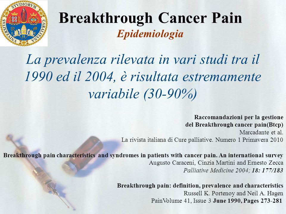 Breakthrough Cancer Pain Epidemiologia Raccomandazioni per la gestione del Breakthrough cancer pain(Btcp) Marcadante et al.