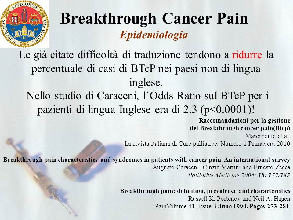 Breakthrough Cancer Pain Epidemiologia Breakthrough pain characteristics and syndromes in patients with cancer pain.