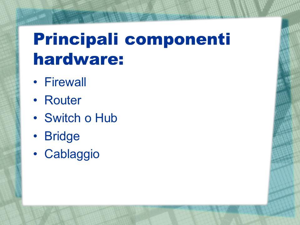Principali componenti hardware: Firewall Router Switch o Hub Bridge Cablaggio