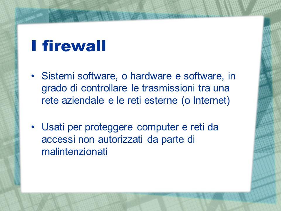 I firewall Sistemi software, o hardware e software, in grado di controllare le trasmissioni tra una rete aziendale e le reti esterne (o Internet) Usati per proteggere computer e reti da accessi non autorizzati da parte di malintenzionati