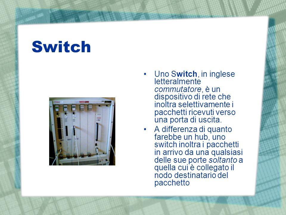 Switch Uno Switch, in inglese letteralmente commutatore, è un dispositivo di rete che inoltra selettivamente i pacchetti ricevuti verso una porta di uscita.